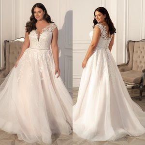 Charming Beaded Plus Size Lace Wedding Dresses Sheer V Neck A Line Bridal Gowns Sweep Train Tulle robe de mariée
