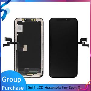 GX ل iPhone x OLED Soft شاشة LCD عرض 5.8 '' شاشة تعمل باللمس الأسود محول الأرقام الجمعية استبدال