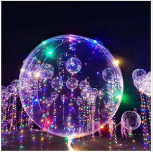 Led Balloons Night Light Up Toys Clear Balloon 3m String Lights Flasher Transparent Bobo Balls Balloon Party Decoration Cfyz163