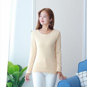 2020 New Winter Warm Velvet Thicker T Shirt Women Long Sleeve Striped O Neck Casual Tumblr Tshirt Soft Cotton Bottom Tees Tops