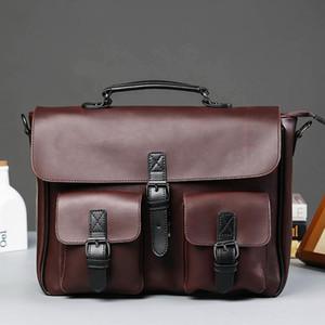2020 Business Office Briefcase Men Brand PU Leather Handbag Male Multifunction Messenger Bag Large Box Laptop Bag Vintage Tote
