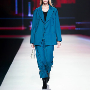 European and American catwalk double-breasted suit + high waist wide leg pants