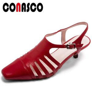 CONASCO Summer Women Genuine Leather Sandals Pumps Fashion Sexy Narrow Band Rome Style Night Club Casual High Heels Shoes Woman
