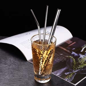 High Quality Durable Straight Bent 304 Stainless Steel Resuable Beer Juice Tea Coffee Drinking Straw Brush