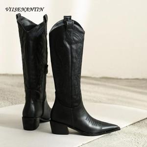 VIISENANTIN Mujeres Kee alta Knight botas de cuero bordado botas marea femenina del talón grueso de punta estrecha denim vaquero occidental