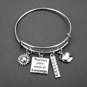 Stainless Steel Bracelet Adjustable Wire Bangle Teacher Plant Sees Of Knowledge Charm Bracelet Bangle Women Jewelry Teachers Gift