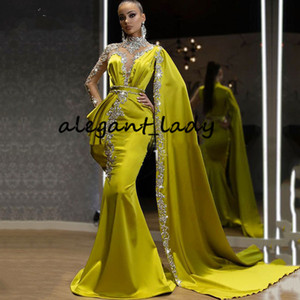 Lemon High Neck Evening Formal Dresses with Long Sleeve Cape 2021 Sparkly Crystal Kaftan Caftan Arabic Prom Gowns Vestidos de