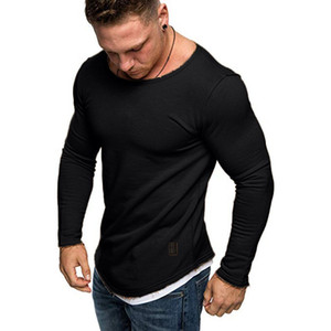 Mens cor sólida T-shirts Skate Long Sleeve Slim Fit Primavera Outono Academia Top Homme Camiseta