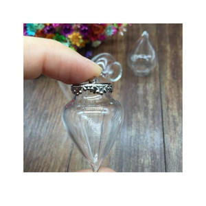 10set 38*15mm Wishing Glass Vials Pendant Water Drop Shape Glass Bottle With 15mm Crown Setting Base Charms Jewelry bbyYRY