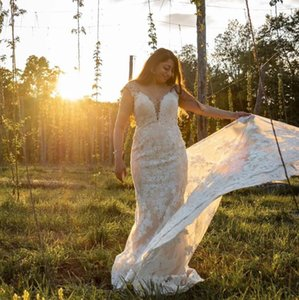 Vintage Full Lace Mermaid Wedding Dresses V-Neck Sweep Train Sleeveless Bridal Gowns Custom Made Sheath Plus Size Marriage Gowns