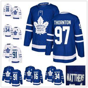 Neue 97 Joe Thornton 91 John Tavares Mitch Marner Auston Matthews Morgan Rielly William Nylander White Blue Toronto Ahornblätter Hockey Jersey