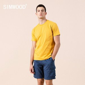 SIMWOOD 2020 summer new solid t-shirt 100% cotton Compact-Siro Spinning O-neck Tops High Quality plus size clothes SI980698 1005