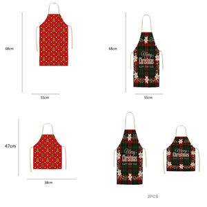 Checkered Barbecue Christmas Cooking Baking Restaurant Red Retro Texture Elk Apron Cleaning Supplies Kitchen Tools S4WR