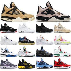 2020 top quality Sneakers Noir Sail Mushroom White Cement Men Women Jumpman 4 4s Basketball Shoes fashion Mens Trainers Sport Shoe 36-47