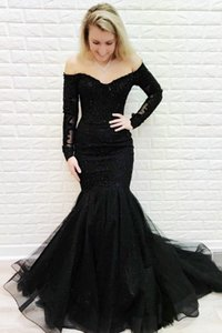 Black Lace Mother of the Bride Dress Mermaid Long Sleeve Off Shoulder Sexy Style 2021 Modern Women Formal Party Gowns Custom Size