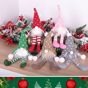 Christmas No Face Sitting Dolls Long Hat Santa Dolls with Light Xmas Tree Decoration Heart Shape Love Woven Kniting Accessories