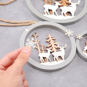 ندفة الثلج الزينة الخشبية ريفي شجرة عيد الميلاد شنقا زخرفة ديكور خشبي ندفة الثلج عيد الميلاد placemat منحوتة خشبية 1