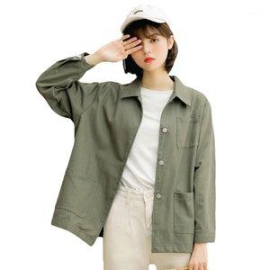 Chaqueta de herramientas retro Mujeres Abrigos básicos Primavera Autumn Harajuku Casual Tops Floors Ladies 2020 Moda Coreana Color Sólido Outwear1