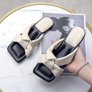 Weibate desenhista chinelos mulheres sapatos quadrados dedo do pé das mulheres Chinelos de qualidade PU Senhoras de couro Slides de verão Flats Open Toe Chinelos Y200624