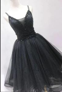 Short Black Gothic Wedding Dresses Beaded Sparkle Glitter Non White Bridal Gowns Knee Length Custom Made V Neck Bride Dress