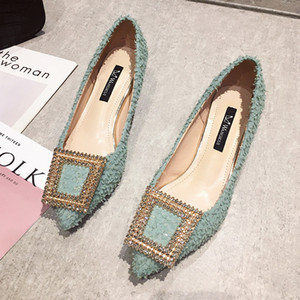 Fashion Buckle Pumps Women High Heel Shoes Elegant Rhinestone Ladies Office Shoes Pointed Toe Women Party Wedding Shoes Pumps 201007