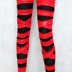 2020 brand new fashion lady leather leggings black white bandage cross women leggings patchwork mesh and fake leather legging