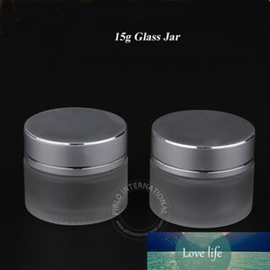 20pcs Lot 15g Frosted Glass Jar Empty Cream Cosmetic Packaging 15ml Containers With Lid For Hand Cream Mascara Bottle
