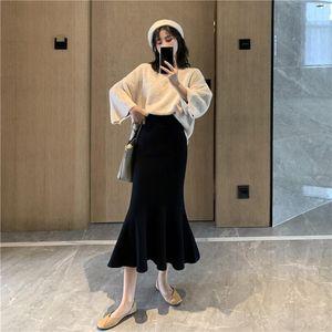 2021 New Autumn And Winter Knitting Ruffles Women Skirts Elegant Slim Solid High-Waist Wrap Hip Thick Skirt Casual All-Match
