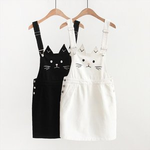 Women Suspender Denim Skirt Kawaii Cute Cat Embroidery Japanese Harajuku Strap Mini Jean Skirt Mori Girl Lolita Vestidos 2020