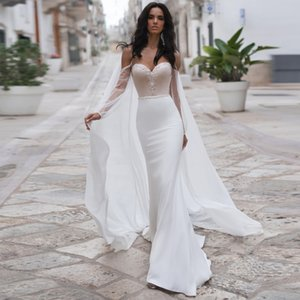 2020 New Sweetheart Neckline Mermaid Wedding Dresses Vestidos de Novia Elegant Custom Made Bohemian Chiffon Bride Dress