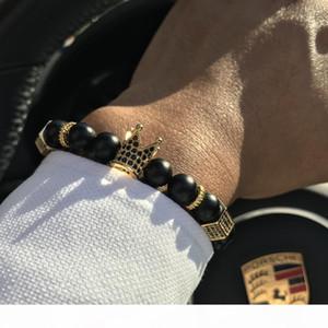Mcllroy Micro Pave Black Cz Zirconia Gold King Crown Charm Bracelet Men Stone Bead Bracelet Valentine Mens Jewelry 2018 Fashion SH190727