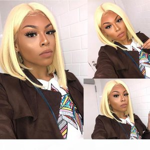 Hot sale Pre Plucked Human Hair Blonde Bob Lace Front Wigs Brazilian Virgin Hair Full Lace Wigs For Black Women With Baby Hair