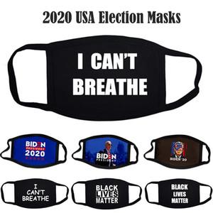 Máscaras negras Matérias Máscaras Unisex Homem Anti Poeira Desenhador Eu Não posso respirar Algodão Face Masks 2020 EUA Eleição Eleitoral Designer Biden Festa Máscaras