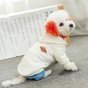 Perros con capucha suéteres para el invierno del Schnauzer de peluche Cachorro Mascota Ropa Jacquard gato perro de lana con capucha 3 colores