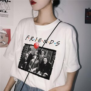 Penny wise Michael Myers Jason Horror Character Halloween Friend Tv Show Print T shirt Women Plus Size casual Clown Terror tops