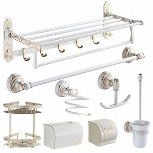 Accessoires de salle de Jeu en aluminium pliable Porte-serviettes Sculpté Porte papier toilette Porte-brosse blanc et or Bath Hardware Set IAPA #