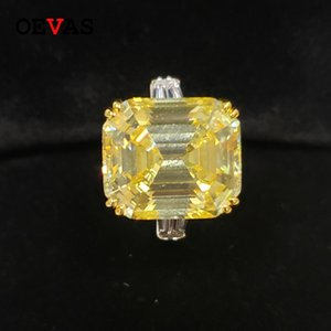 OEVAS alto contenido de carbono de los anillos de bodas de diamante de 30 quilates Topaz Para Mujeres sólido 925 espumoso de compromiso joyería fina 201112