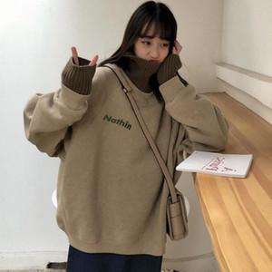 ZUOLUNOUBA Herbst Winter Frauen Sweatshirt Buchstaben Drucken Harajuku Fake Zwei High Collar Khaki Fleece Lose Hoody Pullover MS