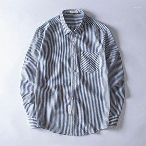 Качество Дышащий клуб полосатый печать хлопчатобумажные льняные кнопки Slim Fit Мужские рубашки с длинным рукавом социальные мужские платья рубашки Chemise Homme1