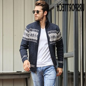 URSPORTTECH Autumn Winter Men's Jacquard Cardigan Stand Collar Loose Slim Fit Coat Plus Size Mens Casual Sweater