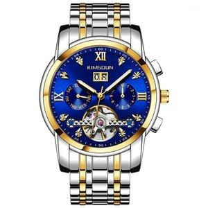 Kimsdun Hombre Mecánico Negocio Mecánico Luminoso Fecha Fecha Tourbillon Reloj relogio masculino1