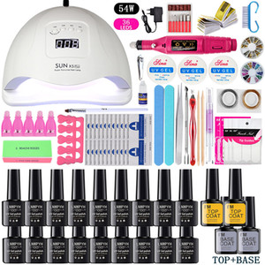 Nail Kit UV LED Lamp Dryer With 24 pcs Polygel Nail Gel Polish Kit Soak Off Manicure Tools Set electric Nail drill Tools