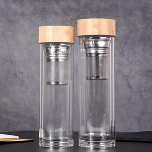 450ml Bamboo Lid Water Cups Double Walled Glass Tea Tumbler With Strainer And Infuser Basket Glass Water Bottles