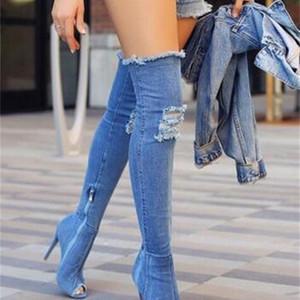 Горячая Мода Женщины на каблуках Весна Осень Peep Toe над коленом Полудлинные стилет джинсы Сапоги C1011
