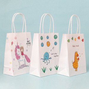 children cartoon animal gift bags cosmetic carrier bags customized Baby shower party paper traktatie kinderen verjaardag sEUo#