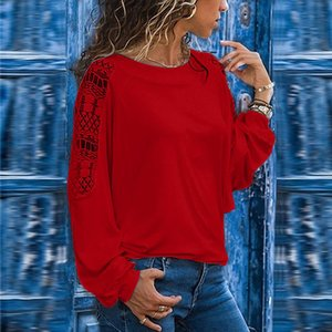 Artı boyutu Bluz Kadınlar Gömlek Uzun Kollu Katı Dantel Süslemeler Hollow Out Gevşek Bluz Drop Shipping