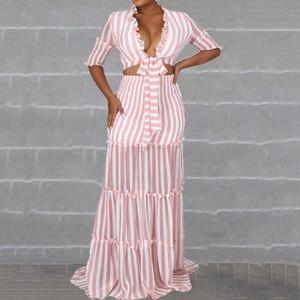 Fashion Stripes Two Piece Sets Pink Chiffon Suits Women Ruffle Short Blouse Long Skirt Set Summer High Waist Designer Beach 201007