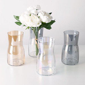 Nordic Ins Glass Vase Simple Modern Hydroponic Plant Flower Arrangement Ornaments Living Room Coffee Table Table-Top Decoration