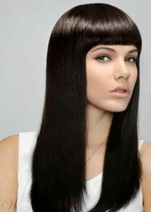 Full Bangs Long Straight Capless Synthetic Hair Wig 18 In