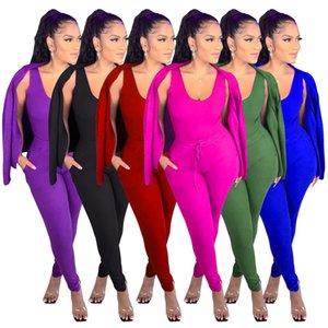 fashion womens three piece set women designers clothes casual sport suit coat vest+ trousers+coat 3pieces set tracksuit LY169